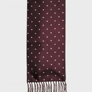 Art Gallery Clothing Burgundy Polka Dot Narrow Scarf with Fringe