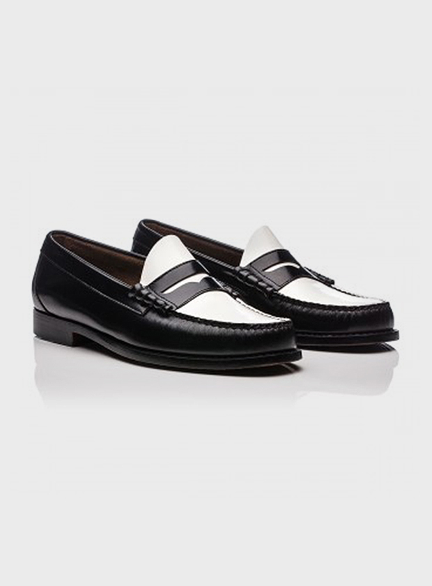 Art Gallery Clothing Larson black and white handsewn moc penny loafer bass weejuns mod modernist